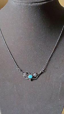 Vintage 925 sterling silver turquoise necklace