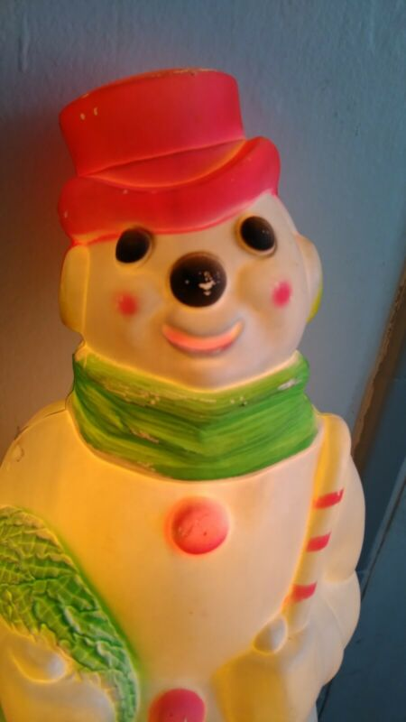 """Vintage Empire Frosty The Snowman Blow Mold 1968 Christmas Decoration 13"""" Works!"""