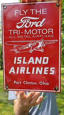 OLD VINTAGE FLY FORD TRI-MOTOR ISLAND AIRLINES PORCELAIN ENAMEL AIRPLANE SIGN