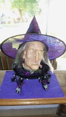Gemmy Halloween Witch Fortune Teller Purple & Green Display w/ Ball or Witch Hat