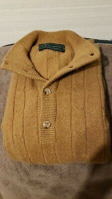 Doriani 100% Cashmere Thick Chunky Camel Cable Knit Cardigan Sweater M / L Italy