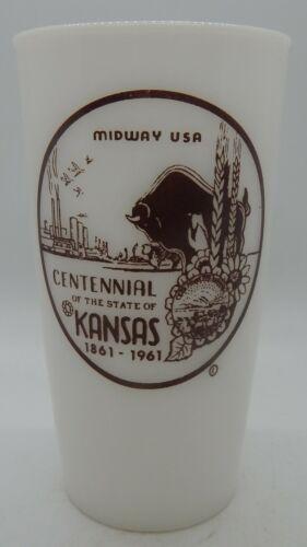 Kansas Centennial Milk Glass Drinking Glass 1861 - 1961