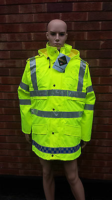 Brand New Ex Police Waterproof Gore-Tex Hi Vis Jacket With Liner Size XL