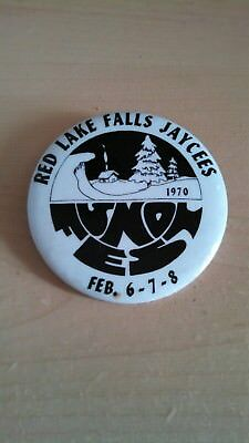 Vintage Collectible Button Pin Back Jaycees Sno Fest Red Lake Falls MN 1970