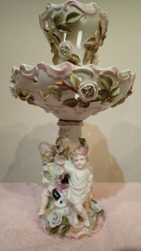 Late 19th Century AUSTRIAN BISQUE PORCELAIN CENTERPIECE Reticulated Bowl Antique