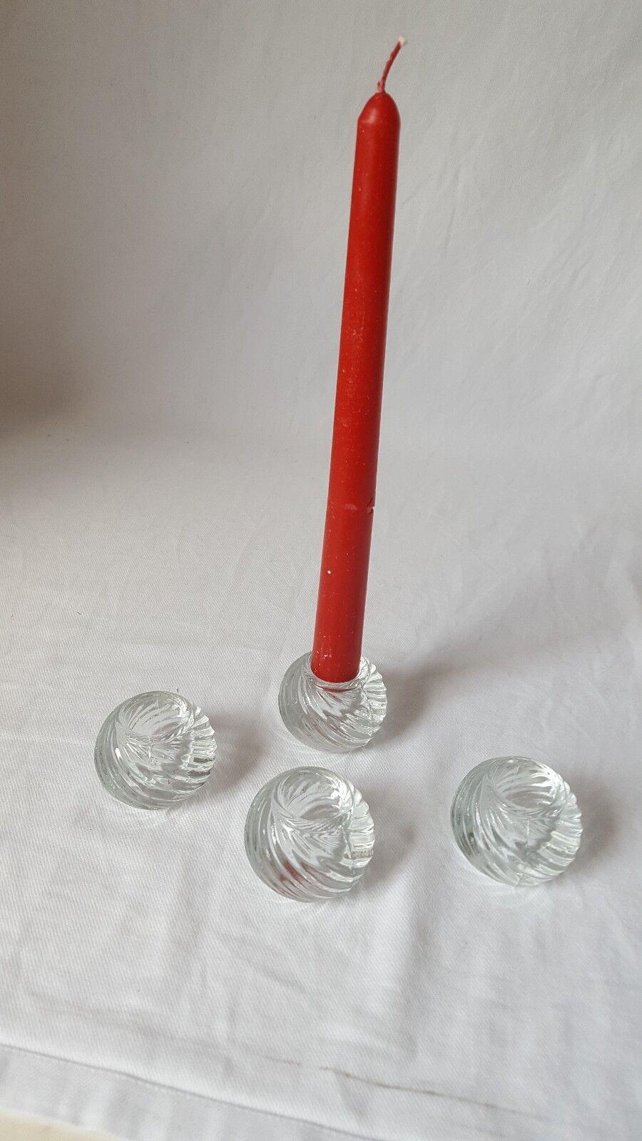 Kerzenhalter 4er Set Glas Stabkerzen Leuchterkerzen Tischständer Glashalter NEU