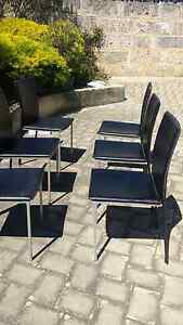 Glass table 1.8m black frame /six chairs Edgewater Joondalup Area Preview