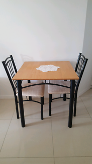 Square Solid Wood Timber Iron Table bonus  2 Chairs