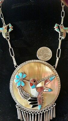 Native American Zuni Hummingbird Necklace Sterling Thomasine Shack RARE OLD!!