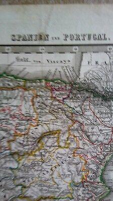 Alt-, Hand- u. Grenzkol. Kupferstich-Landkarte Spanien u. Portugal, Stieler 1845