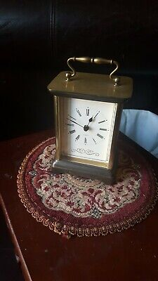 Vintage St Michael Made In Germany /Carriage Quartz Desk Brass Mantel...clock .