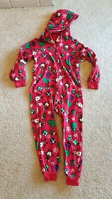 Girls The Children's Place Red Christmas One Piece Hooded Jumper Pajama Size S/P