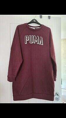 Puma Burgundy Oversized Crew Neck Jumper With Pockets Size S