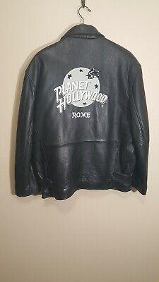 Vintage Planet Hollywood Rome Black Leather Jacket Size Large