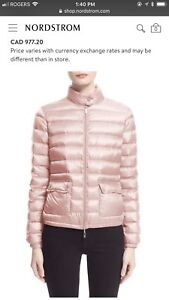 Authentic Moncler Lans pink water resistant down jacket