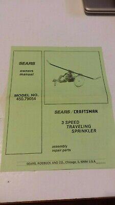 Vintage Original Sears Craftsman 3 Speed Traveling Sprinkler Owners Manual Sears Craftsman Manual
