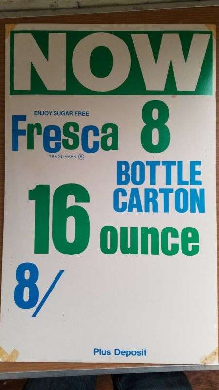 Rare Fresca Sign for Store Display Promo SEE PICS