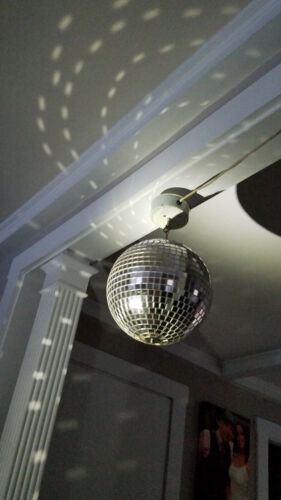 """Original Vintage Electric Rotating Mirrored Disco Ceiling Ball 33"""" Circumference"""