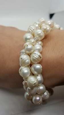 Chuvora Silk Thread and Cream Cultured Freshwater Pearl Cluster Bracelet ()