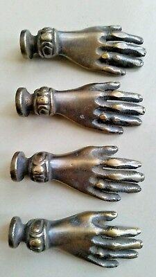 Set 4 BRASS ANTIQUE Vtg LADIES dainty HANDS Cabinet Drawer Knob Pull 2