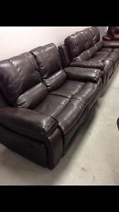 New Brown Reclining2Piece Leather Couch Sofa, LoveSeat1900