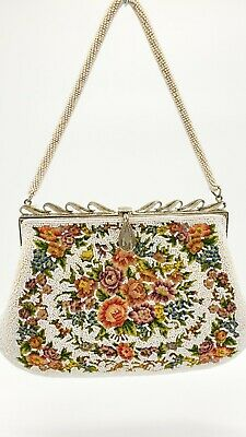 1930s Handbags and Purses Fashion 1930's Vintage White Beaded Embroidered France Purse Flower Tapestry Handbag $63.99 AT vintagedancer.com