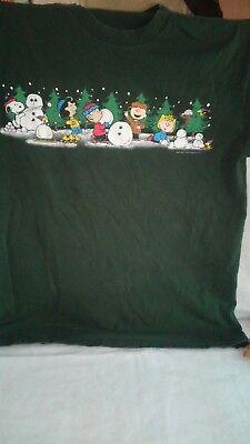 Vintage Peanuts Gang Green T Shirt Christmas Winter Build A Snowman