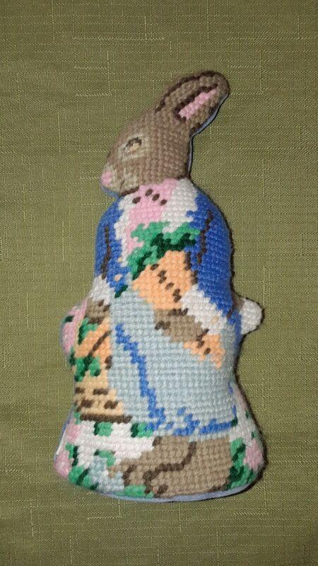 """Vintage Easter Stuffed Rabbit Handmade Needlepoint and Velvet 7"""""""