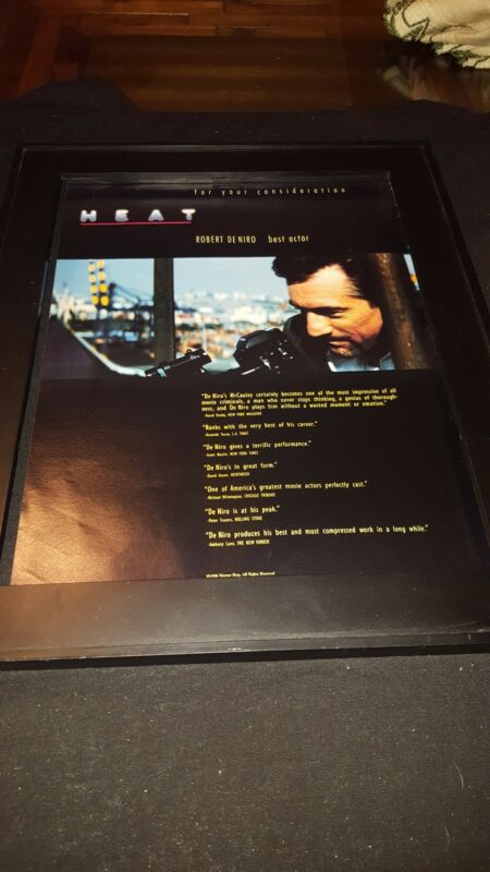 Heat Robert DeNiro Rare Original Academy Awards Promo Poster Ad Framed!