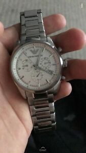 Men's silver Armani watch