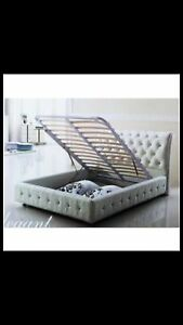 White leather diamond king single bed with gas lift Greenacre Bankstown Area Preview