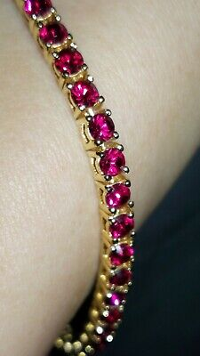 Glitzy JOAN RIVERS Gold Tone Simulated RUBIES Encrusted Tennis Bracelet BOXED**
