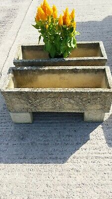 PAIR of Vintage Garden Trough Planters,  Nicely Weathered on matching feet