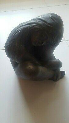 Figur Skulptur aus Alabastergips - sieht aus wie Bronze - junges Mädchen  - Sieht Bronzer