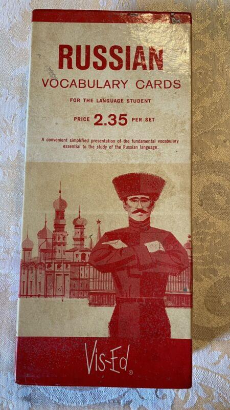 Vintage Vis-Ed Russian Language Vocabulary Flash Cards