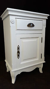 2 x FRENCH PROVINCIAL BEDSIDE TABLE DRAWER CUPBOARD CHIC - 3485