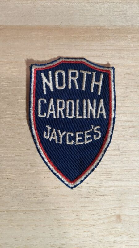 "Vintage North Carolina Jaycees Embroidered Patch 2.5"" x 4"" Shield Patch"