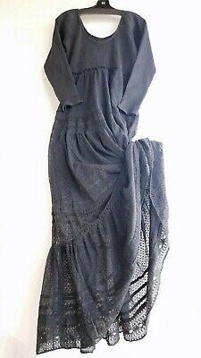 Free People Earth Angel Black Maxi Lace Dress Large Reg $148  NWT Long Sleeve Lace Dress