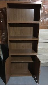 Wooden Bookshelf with Storage Compartment