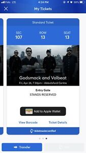 godsmack and volbeat tickets in abbotsford