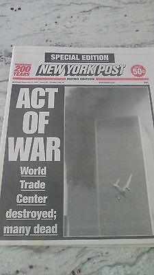 """NEW YORK POST-SEPTEMBER 12,2001-''ACT OF WAR"""" FIRST PAPER AFTER 9/11"""