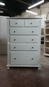 HAND MADE GALAXY FLORIDA 2+4 DEEP DRAWER CHEST WHITE (ASSEMBLED)