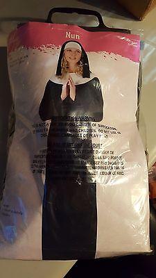 HALLOWEEN COSTUME Catholic Priest&Nun Couple Robe Gown Cassock Collar Headpiece