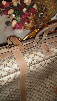 GUCCI VINTAGE SUITCASE LUGGAGE *AUTHENTICATED* MONOGRAM GREAT SIZE