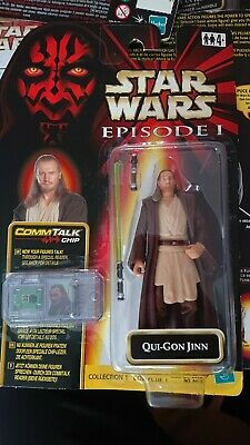 "STAR WARS HASBRO 1999 3 3/4"" FIGURE EPISODE 1 QUI GON JINN EUROPEAN CARD (LABEL)"