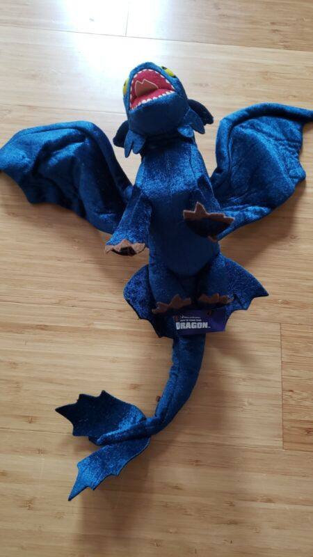 DreamWorks Toothless NIGHT FURY Plush Train Your Dragon Stuffed Poseable Wings