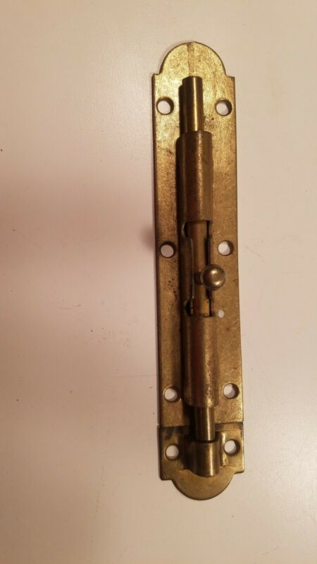 Vintage Brass Plated Steel Long Slide Bolt