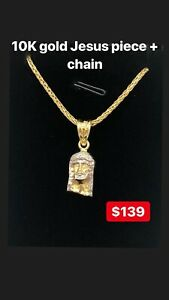 10K gold Jesus piece and chain