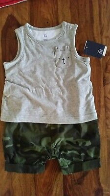 Boys Baby Gap T Shirt Shorts All In One New With Tags 12-18 Mths