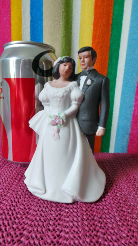 "Wedding, Bride & Groom Figurine-Cake Topper, 4 1/2"", ENESCO, Porcelain/bisque"
